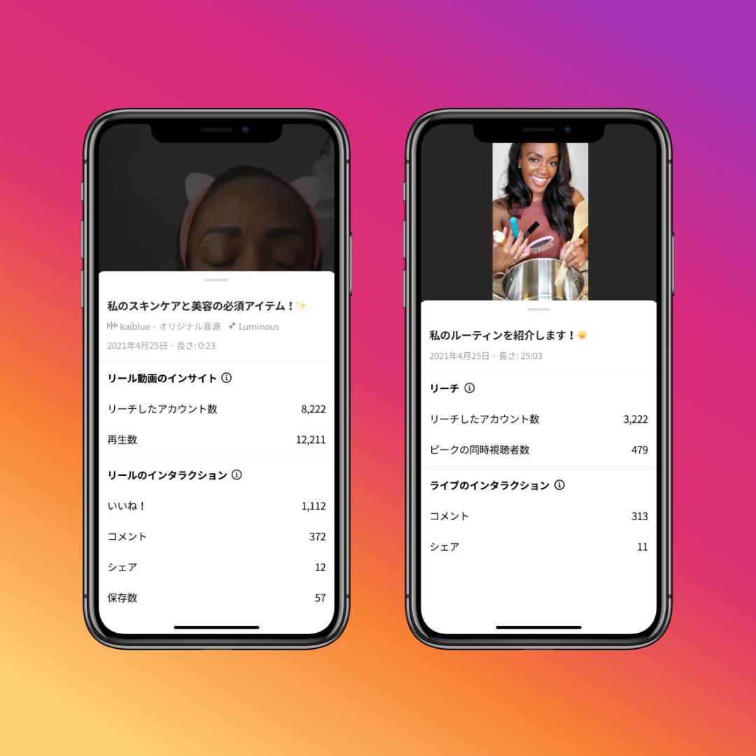 Instagram、リールとライブ配信のインサイトを追加